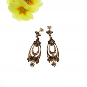 Kolczyki srebrne  - Vintage brown Earrings